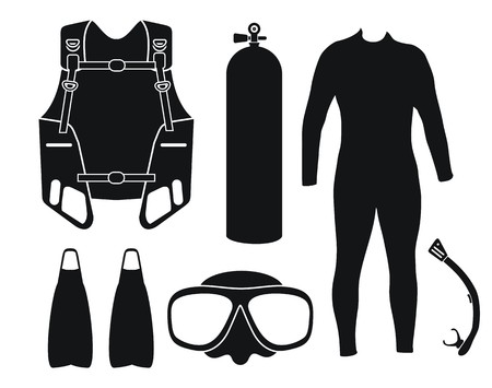 diving equipment - silhouette