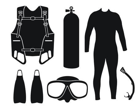Tauchausrüstung - Silhouette Standard-Bild - 39095422