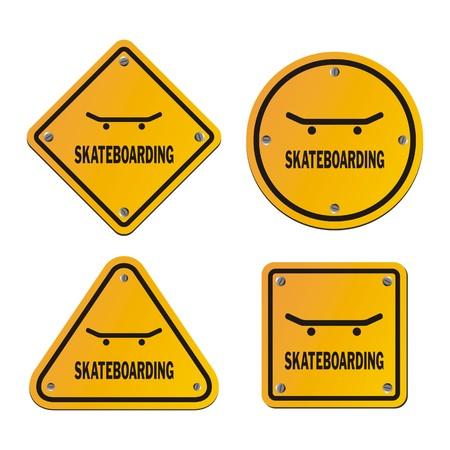 skate park: skateboarding signs