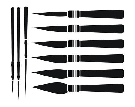 brocha de pintura: pinstriping y handlettering cepillo Vectores