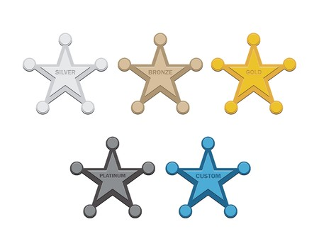 platinum: star badges silver, bronze , gold, platinum, custom Illustration