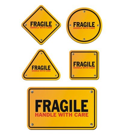 handle with care: fragile handle with care signs Illustration