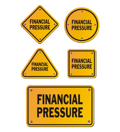 trouble free: financial pressure yellow signs Illustration