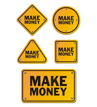 earn fast money: make money signs Illustration