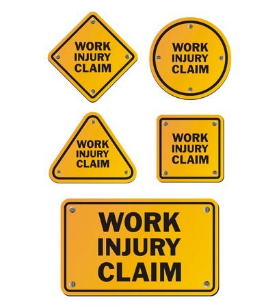 compensate: work injury claim signs Illustration