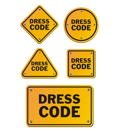 informal clothes: dress code signs