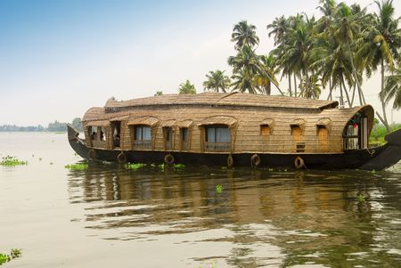 bamboo house: A houseboat in the backwaters of Kerala, India