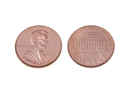 Two pennies isolated on a white background
