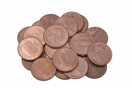 Pile of pennies isolated on a white background