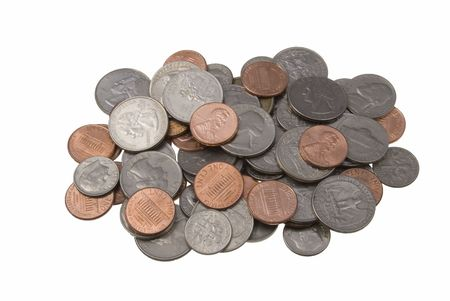 coinage: Pile of coins isolated on a white background