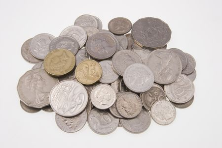 Pile of Australian coins isolated on white background