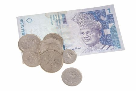 Malaysian coins and banknotes isolated on white background photo