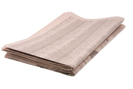 Business newspaper isolated against white background