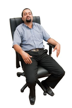 asleep chair: An Asian business executive relaxing in an office chair with his eyes shut - isolated on white Stock Photo