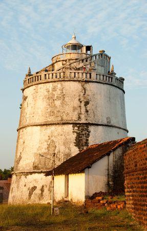 aguada: The lighthouse at Fort Aguada in Goa, India