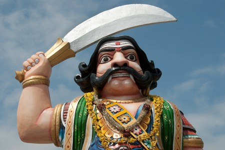 mahishasura: A statue of the mythological Hindu demon Mahishasura in Chamundi Hills, Mysore, India Stock Photo