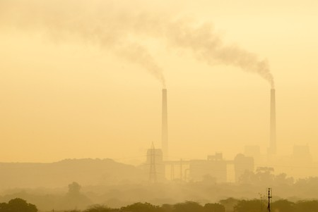 Early morning pollution from a thermal power plant photo