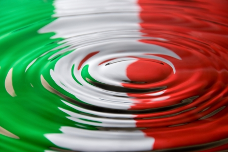 italian flag: A water droplet ripples against the Italian flag colours