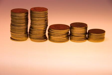 Stacks of Australian coins photo