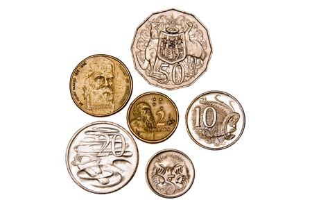 Australian coins - isolated on white Banco de Imagens