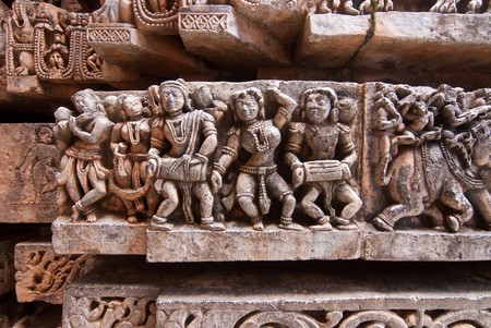 karnataka: Stone sculpture of musicians at the ancient temple of Halebid in Karnataka, India Stock Photo
