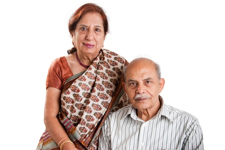 indian couple: A senior Indian  Asian couple - isolated on white