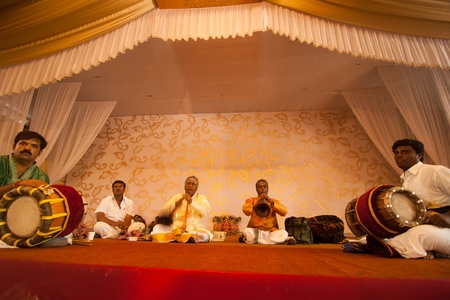 Bangalore, India - August 22, 2010: Indian musicians performing at a wedding ceremony in Bangalore, to the south of India.