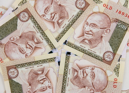 gandhi: Indian currency banknotes - close up