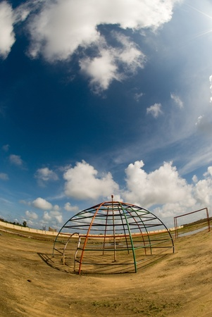 jungle gym: Childrens playground - fisheye view