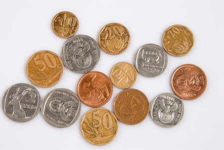 A bunch of South African coins