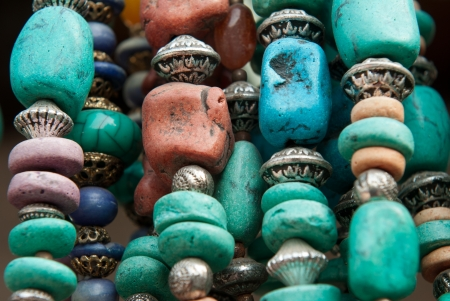 bead jewelry: A stone bead traditional necklace Stock Photo