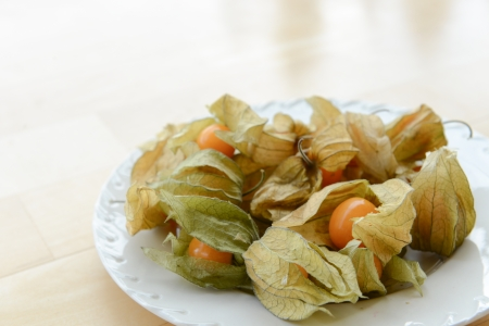 A bunch of physalis on a white plate. Space for text photo