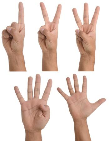 dedo se�alando: Gestos de mano - desde una hasta cinco