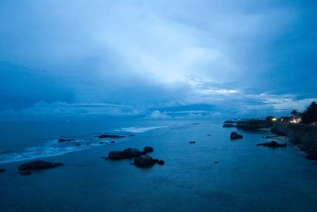 Blue sunset over the ocean