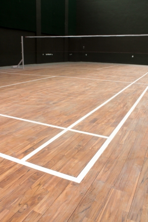 shuttlecock: Ground lines on a covered badminton court Stock Photo