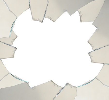 Shattered glass with space for text - isolated Stock Photo