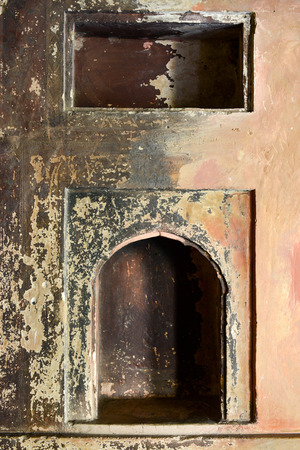 niche: An old grungy niche with peeling paint. Stock Photo