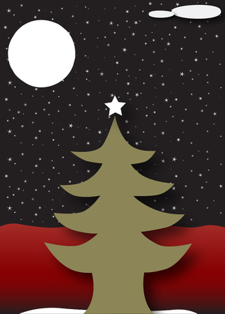Merry Christmas and Happy New Year - Tree under a dark starry night Vector