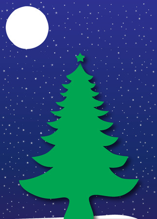 Merry Christmas and Happy New Year - Christmas Tree under a blue starry night sky Vector