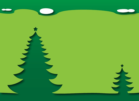 Merry Christmas and Happy New Year - Christmas Trees with a green theme Vector