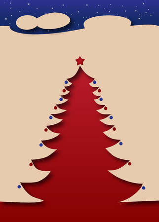 Merry Christmas and Happy New Year - Christmas Tree under a starry night Vector