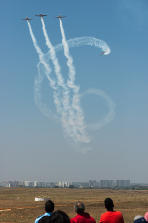 Bangalore India - February 12 2017: The air show rehearsal at the 11th edition of Aero India 2017 in Bangalore, India. The show starts on 14th February with over 200,000 people expected to attend. Redakční
