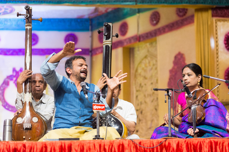 Bangalore India - April 16 2017: Acclaimed Carnatic singer and Magsaysay Award winner T M Krishna in concert in Bangalore on April 16, 2017 as part of the 79th Ramnavami National Music Festival organised by Sree Ramseva Mandali in Bangalore, India.