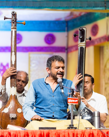 krishna: Bangalore India - April 16 2017: Acclaimed Carnatic singer and Magsaysay Award winner T M Krishna in concert in Bangalore on April 16, 2017 as part of the 79th Ramnavami National Music Festival organised by Sree Ramseva Mandali in Bangalore, India.