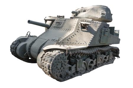 A damaged battle tank isolated on white
