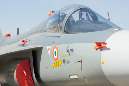 Bengaluru, India - February 22, 2019: Close up view of the cockpit of the HAL aircraft Tejas on display at the Aero India 2019 exhibition. Aero India is a biennial air show and aviation exhibition and one of the largest in Asia.