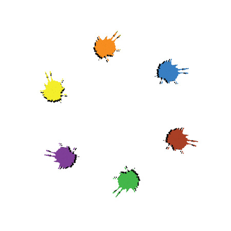 inky: Stains left ink. Abstract colourful background. Color picker of blots for your design. Illustration