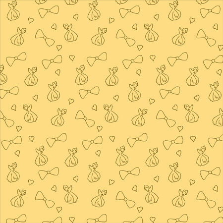 Seamless pattern with hand-drawn hearts, bows and candy. Background for wrapping paper. The concept of rest, relaxation. Vector