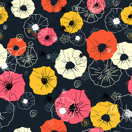 Seamless ornate decorative floral pattern. Bright print for your design. Dark blue background Vector
