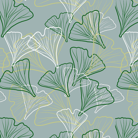 Ginkgo biloba patroon. Silhouet van ginkgobladeren Stock Illustratie